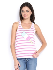 Henry Holland Women Pink & White Striped Tank Top