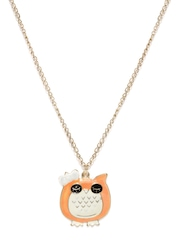 Hi Look Orange & White Owl Pendant with Chain