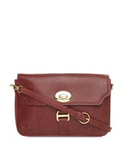 Hidesign Maroon Leather Sling Bag