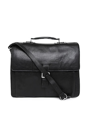Hidesign Men Black Leather Laptop Bag