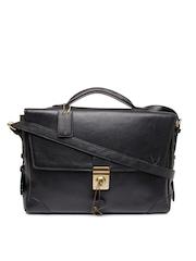 Hidesign Men Black Leather Messenger Bag