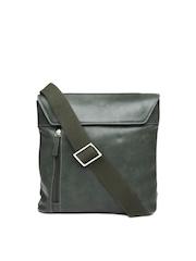 Hidesign Men Olive Green Leather Messenger Bag