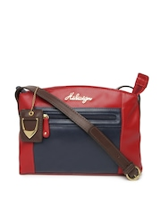 Hidesign Red & Navy Leather Sling Bag