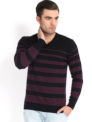 Highlander Men Black & Purple Striped Sweater