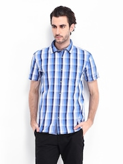Highlander Men Blue & White Checked Slim Fit Casual Shirt