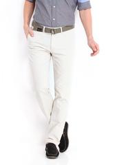Highlander Men Off-White Linen Blend Trousers