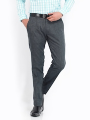 Highlander Men Grey Linen Blend Slim Fit Trousers