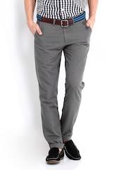 Highlander Men Grey Linen Blend Trousers