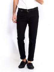 Highlander Men Black Linen Blend Trousers