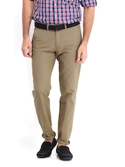 Highlander Men Khaki Linen Blend Trousers