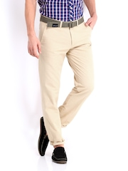 Highlander Men Beige Linen Blend Trousers