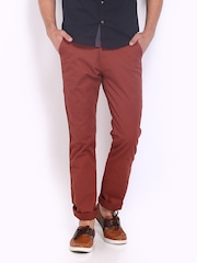 Highlander Men Mineral Red Slim Fit Chino Trousers