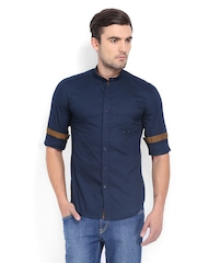 Highlander Men Navy Slim Fit Casual Shirt