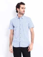 Highlander Men White & Blue Checked Slim Fit Casual Shirt