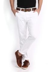 Highlander Men White Slim Fit Trousers