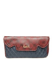 Holii Navy & Red Leather Clutch