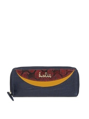 Holii Women Navy & Red Leather Wallet