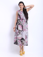 Hotberries Lavender & Black Floral Print Blouson Dress
