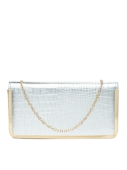 Hotberries Silver Toned Oversized Clutch