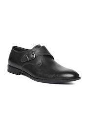 Hush Puppies Men Black Leather Semi-Formal Shoes