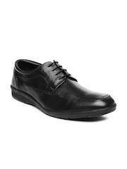 Hush Puppies Men Black Leather Semi-Formal Shoes
