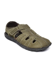 Hush Puppies Men Olive Green Suede Sandals