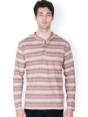 Men Red & Grey Striped Henley T-shirt Hypernation