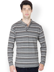 Men Grey & Black Striped Henley T-shirt Hypernation