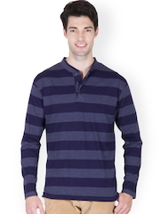 Men Navy Striped Henley T-shirt Hypernation