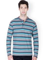 Men Multicoloured Striped Henley T-shirt Hypernation