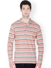 Men Orange & Grey Striped Henley T-shirt Hypernation