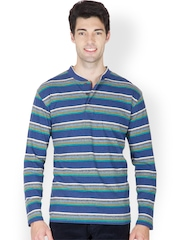 Men Blue & Grey Striped Henley T-shirt Hypernation