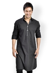 I Know Men Black Kurta