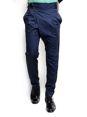 I Know Men Navy Blue Tapered Fit Smart-Casual Trousers