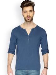 Identiti Men Navy Slim Fit Henley T-shirt