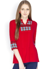IDENTITI Women Red Printed Kurti