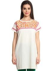 Shraddha Kapoor for IMARA Women Off-White Embroidered Kurta