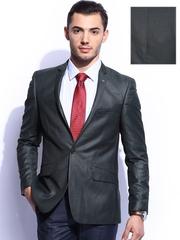 INVICTUS Men Grey Slim Fit Single-Breasted Blazer