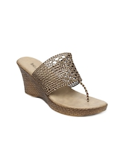 Inc 5 Women Antique Gold Toned Sandals