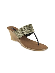 Inc 5 Women Black and Gold toned Sandals