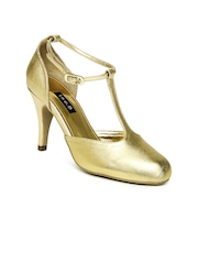 Inc 5 Women Gold Toned Patent Leather Heeled Shoes