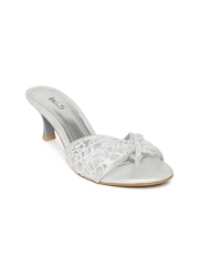 Inc 5 Women White & Silver-Toned Heels