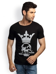 Incynk Men Black Graphic Printed T-shirt
