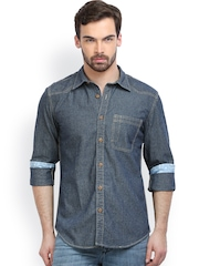 Indeblu Men Dark Blue Denim Slim Fit Casual Shirt
