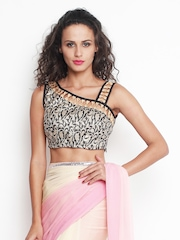 Indi Dori Black & Golden Embroidered Stitched Saree Blouse