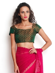 Indi Dori Green & Golden Embroidered Stitched Saree Blouse