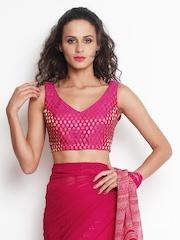 Indi Dori Pink & Golden Embroidered Stitched Saree Blouse