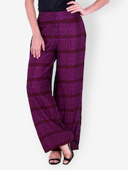 Indi Dori Women Burgundy Printed Palazzo Trousers