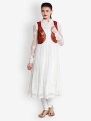 Indi Dori Women Maroon & Golden Waistcoat