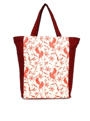 India Circus Women Red Printed Tote